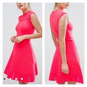 Ted Baker Pink Zaralie Jacquard Skater Dress